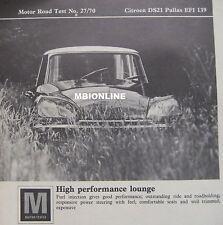 1970 Citroen DS21 Pallas EFI 139 Original Motor magazine Road test