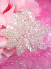 """FS3138 Crystal AB Floral Flower Rose Sequin Beaded Applique 2.25"""""""