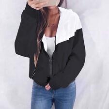 Women Long Sleeve Spring Skinsuits Hooded Zipper Pockets Sport Coat Jacket Black