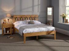 Baldur Solid Wood Bed Frame Lattice Design in Oak or White 3FT 4FT6 5FT 6FT