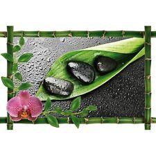 Sticker Bambou déco feuille et galets952