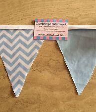 Blue & White Chevron Zig Zag Fabric & Blue Cotton Fabric Bunting Baby Showers,