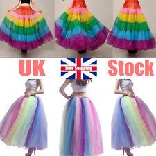Women Rainbow Long Petticoat Crinoline Underskirt Bridal Skirt Slips Tutu Dress