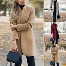 Women's Slim Fit Open Front Blazers Casual Trench Coats Stand Collar Jacket Coat