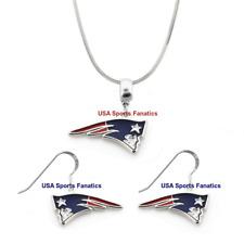 New England Patriots Logo Necklace & Earring Set On 925 Snake Chain & Ear Hooks
