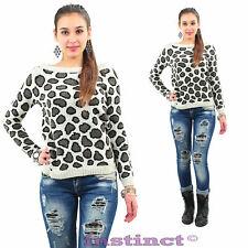 Maglione pullover donna maniche lunghe leopardato maglia sexy nuova IS5029