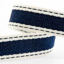 Navy Blue Saddle Stitch Cotton Twill Ribbon - 15mm x 10m - Crafts - Sewing
