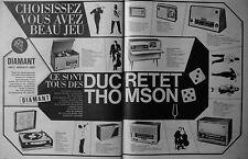 PUBLICITÉ DUCRETET THOMSON ÉLECTROPHONE DIAMANT PURETÉ TRANSISTOR RADIO STÉRÉO