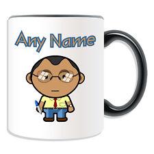 Personalised Gift Teacher Male Mug Money Box Cup Brown Hair Glasses Asian Black