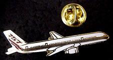 BOEING B-757 JET AIRPLANE AIRCRAFT GOLD TONE METAL AND ENAMEL MINI PIN