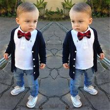 Kids Boy Gentleman Clothing T-shirt Short Sleeve Tops+Jeans Denim Pants 3pc Suit