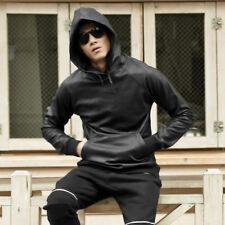 Men Leather Sweatshirt Hoodie Soft Pullover Jumper Coat Jacket Hip-hop Black Top