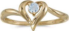 14k Yellow Gold Round Aquamarine Heart Ring (CM-RM1588X-03)