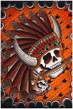Chief Great Buffalo Horns Skull Indian Native American Headdress Fine Art Print