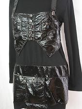Gothic Kleid schwarz mit Knisterfolie Schnallen langärmlig  Gruftikleid lang