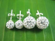 925 sterling silver white Austrian Crystal BALL studs earrings 6mm 9mm-TEEN GIRL
