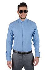 Tailored / Slim Fit Mens Blue Dress Shirt Wrinkle-Free Spread Collar AZAR MAN