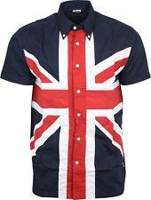 Relco Hombre Union Jack manga corta con botones Camisa