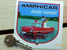 AMPHICAR 'Make Waves' Shield shaped 90mm Classic amphibious boat car sticker