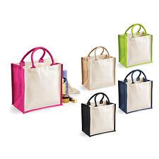 Westford Mill Printers Midi Jute Tote (W421) - Shopping Cotton Handbags