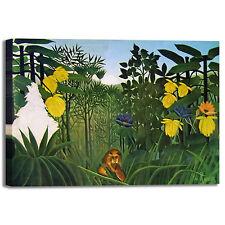 Rousseau pantera e leone design quadro stampa tela dipinto telaio arredo casa