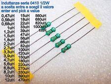 5 x induttanza assiale serie 0410 1/2W a scelta tra38 valori da 0,47uH-1mH