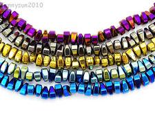"Natural Hematite Gemstone 4mm x 6mm Freeformed Loose Beads 15.5"" Metallic Colors"