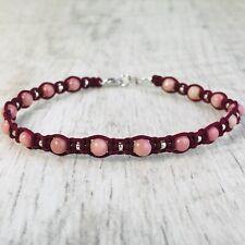 Bracelet Homme Femme Macramé Shamballa Rhodonite  perles  - Lithothérapie