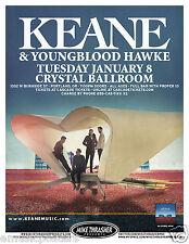 KEANE / YOUNGBLOOD HAWKE 2013 PORTLAND CONCERT TOUR POSTER - Alternative Rock