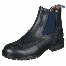 Momino 3422M Stiefeletten Chelsea Boots Lammfell Stiefel Budapest Blau 33-40 Neu