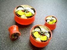1-PAIR  Butterfly Double Flare Orange Acrylic Ear Plugs Saddle Gauges