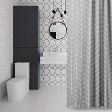Geometric Printed Modern Bathroom Shower Curtain Long 180*200cm With Hooks Grey