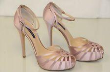 $895 New RALPH LAUREN Jearra Pale Pink Satin Platform Sandals Shoes 40 Wedding