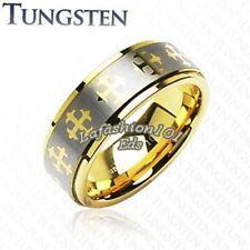 Tungsten IP Gold & Brushed Mens Wedding Ring W/Cross Decoration SZ 9,10,11,12,13