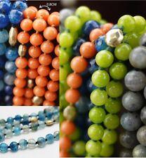 Collar Mujer collar Perla Piedra ágata Naranja Azul Marrón Super Bonito ST