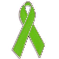 PinMart's Lime Green Awareness Ribbon Enamel Lapel Pin