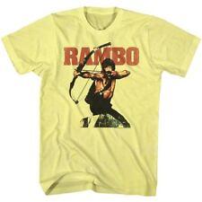 John Rambo Movie T-Shirt Stallone Military Tee in Yellow Heather Blend SM - 2XL