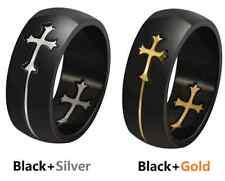 Fashion 2 colors 8mm Titanium Steel Detachable Cross Ring Design COOL Mens ring