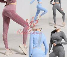 Women Seamless Leggings Gym Crop Top Sportswear Yoga Running Training Fitness