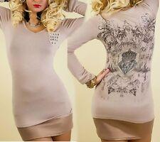Sexy MiSS Damen Long Shirt langarm Nieten Strass retro Print 34/36 36/38 beige