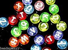 100 pcs acrylic alphabet beads, flat round, colourful and transparent, 4x7 mm
