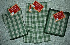 SET 4/KITCHEN TOWELS/POTHOLDER/MITT SAGE GREEN STURBRIDGE SALTBOX PLAID/NWT
