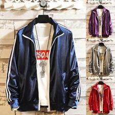 Men's Casual Long Sleeve Jacket Loose Stripe Baseball Coat Outwear Overcoat Tops