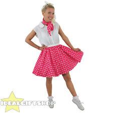 SHORT PINK  POLKA DOT SKIRT FANCY DRESS ROCK N ROLL 1960S STANDARD + PLUS SIZE