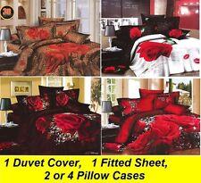 New 100% Cotton 3D Floral Print Duvet / Quilt Bed Set Queen Size