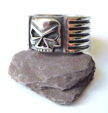Men's Evil Skull Gothic Chunky Ring - Silver Black Stainless Steel Biker Punk