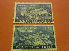 MONTECASSINO SERIE COMPLETA USATA 2 VALORI 20 E 55 L.  REPUBBLICA ITALIANA 1951