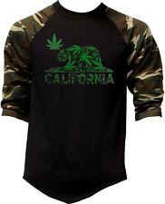 Men's California Weed Bear CAMO 3/4 Sleeve Baseball Raglan T Shirt Cali Kush 420