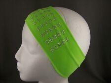 """Green Silver headband flower stud 3"""" wide soft stretch elastic hair band sport"""