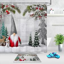 Santa Dwarf Snowman Reindeer Trees on Snow Xmas Shower Curtain Hook Bathroom Mat